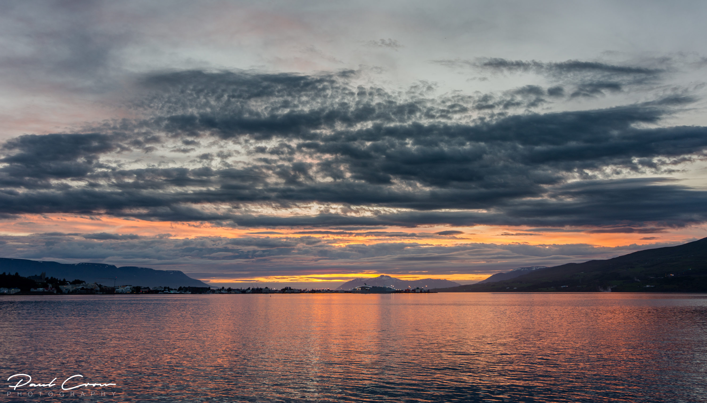 The stunning sunset over the Akureyri