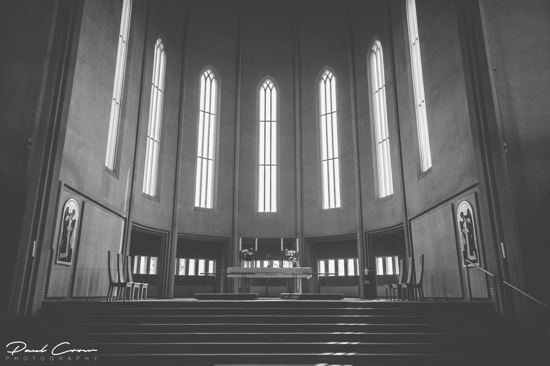 Hallgrímskirkja interior light reflections