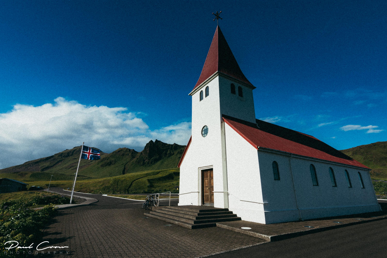 Different view of the Church in Vík í Mýrdal