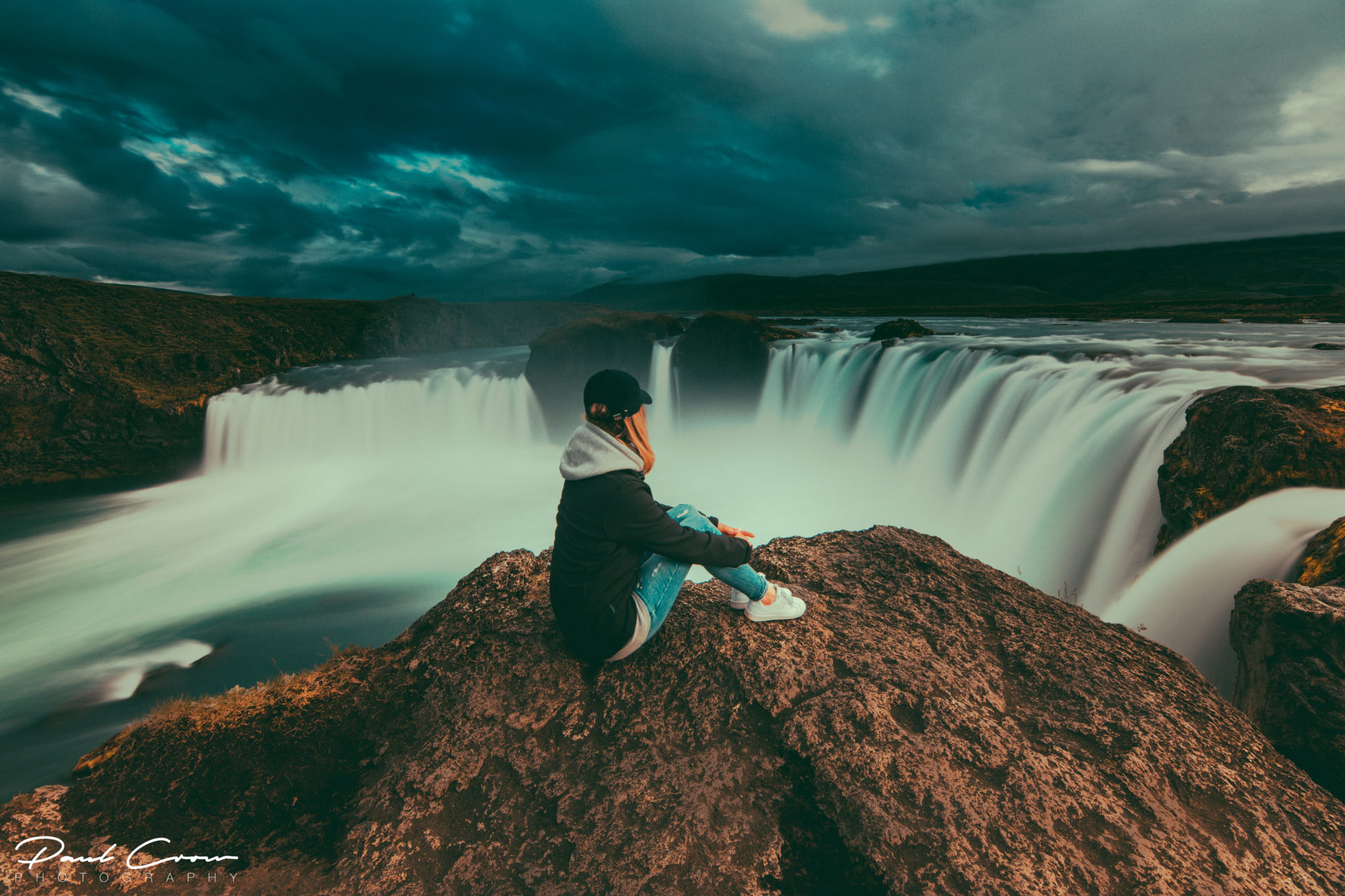 Sitting on the edge of Goðafoss